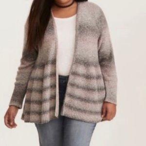 Torrid Pink & Gray Striped Ombré Cardigan